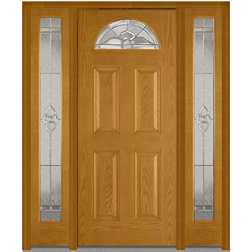 National Door Company Z014644L Fiberglass Oak, Fruitwood, Left Hand In-swing, Exterior Prehung Door, Master Nouveau 1/4 Lite 4-Panel, 36''x80'' with 14'' Sidelites by National Door Company