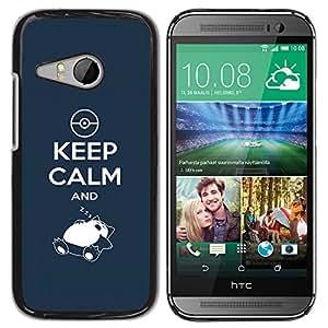 CASECO - HTC ONE MINI 2 / M8 MINI - Keep Calm & Zzz - Delgado Negro Plástico caso cubierta Shell Armor Funda Case Cover - Mantener la calma y Zzz