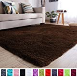 PAGISOFE Soft Comfy Rugs for Living Room Bedroom Area Indoor Modern Fluffy Rugs Decor Plush Velet Home Decorative Carpet Dining Room Nursery Floor Shag Rug 4x5 ft (Chocolate Brown)