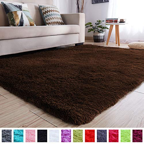 PAGISOFE Soft Comfy Rugs for Living Room Bedroom Area Indoor Modern Fluffy Rugs Decor Plush Velet Home Decorative Carpet Dining Room Nursery Floor Shag Rug 4x5 ft (Chocolate Brown) (Living For Large Room Rugs)