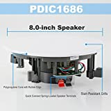 """Pyle Pair 8"""" Flush Mount in-Wall in-Ceiling 2-Way Speaker System Spring Loaded Quick Connections Changeable Round/Square Grill Stereo Sound Polypropylene Cone Polymer Tweeter 250 Watt"""