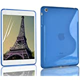 iPad Mini Case - Blue S-Line Silicone Gel Back Cover for iPad Mini 1st Generation, Screen Protector Included