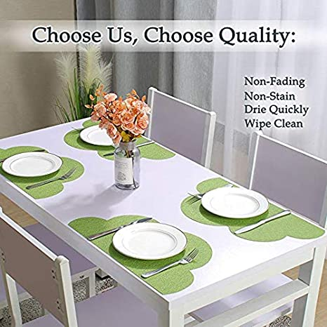 Non-square Round Placemats,Heat-Resistant Placemats Stain Resistant Anti-Skid Washable PVC Placemat for Dining Table Woven Vinyl Kitchen Table Mats,Set of 4 Gold
