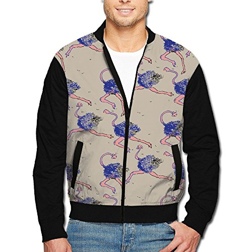 SCOOLY Purple Ostrich Running Men/Youth Long Sleeve Full Zip Jacket Large (Beautiful Full Ostrich)