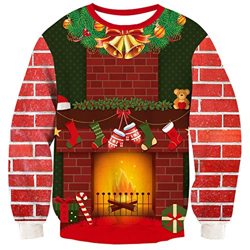 TUONROAD 3D Graphic Ugly Christmas Sweater Funny Crew Neck Pullover Sweatshirt for Men Women (Christmas Fireplace, XX-Large) ()