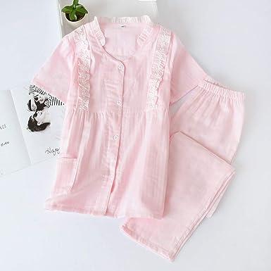 Fresh Green 100% Gasa Algodón Ropa de Dormir Mujeres Pantalones de Manga Corta Pijamas cómodos Princesa Pijamas Conjuntos Mujeres Verano: Amazon.es: Ropa y accesorios