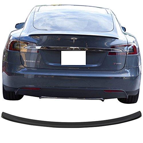 Rear Deck Lid Spoiler (Trunk Spoiler Fits 2012-2017 Tesla Model S | Unpainted ABS Rear Boot Deck Lid Roof Wing Replacement by IKON MOTORSPORTS | 2013 2014 2015 2016)