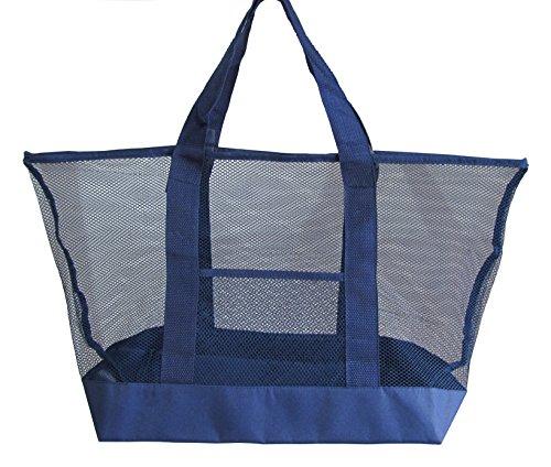 PYC Oversized Portable Summer Beach Mesh Tote Bag Toy Organizer(Navy)