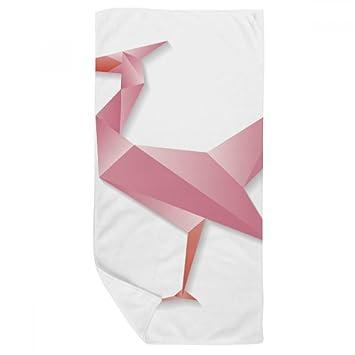 DIYthinker Extracto geométrico del Flamenco Origami patrón de Toalla de baño Suave paño de Facecloth 35X70Cm: Amazon.es: Hogar