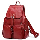 2018 Hot Sale ! Women-bag Genuine Leather bag Backpack Cow Leather shoulder bag Student's School bag Daily Backpack (Color WineRed)