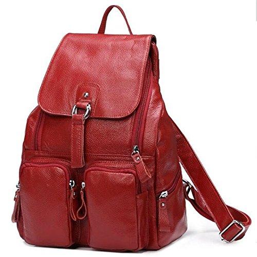 2018 Hot Sale ! Women-bag Genuine Leather bag Backpack Cow Leather shoulder bag Student's School bag Daily Backpack (Color - Outlets Carolina Prime North