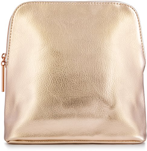 Metallic Bag Evening Pouch (Large Rose Gold Metallic Premium Vegan Leather Clutch Pouch Bag, Fully Lined with Rose Gold Zipper (Mia))