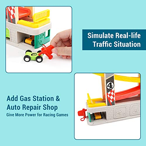 TOP BRIGHT Race Track Car Ramp Toy for Toddler Boys 2 3 Year Old Gifts - with 4 Wooden Cars, Parking Lot & Gas Station
