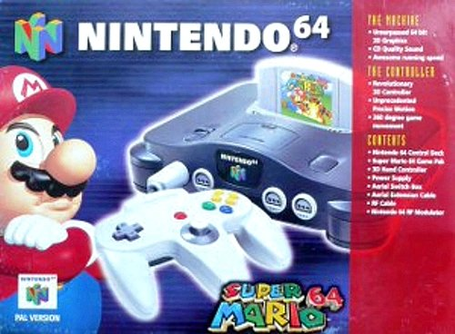 (N64 System with Controller, Hookups, and Super Mario 64)
