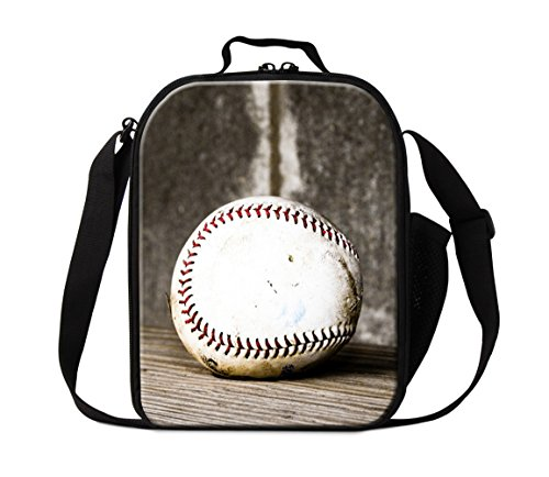 ZRENTAO Boys Insulated Zipper Lunch Containers Box Bag For School Children (Kids Baseball Lunch Box)