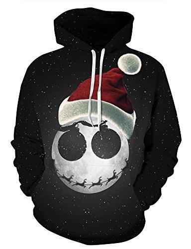 KamiraCoco Unisex 3D Galaxy Printed Pullover Big Pockets Drawstring Hoodie Hooded Sweatshirt For Men and Women (S/M, Moonlight Christmas) (String Moonlight)