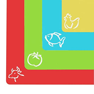 Durable Flexible Cutting Board, XL Cutting Board Mats Set with Food Icons for Kitchen, RV, Bar, BPA Free & FDA Approved (Set of 4)