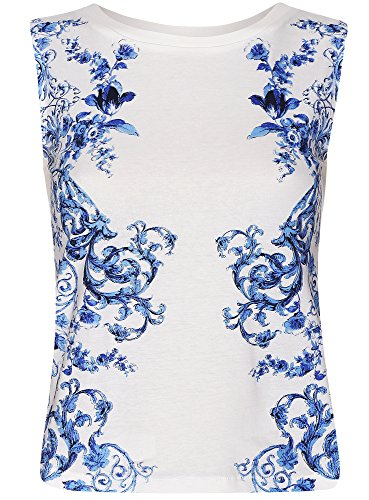 oodji Collection Mujer Top Semiajustado con Estampado Blanco (1275P)