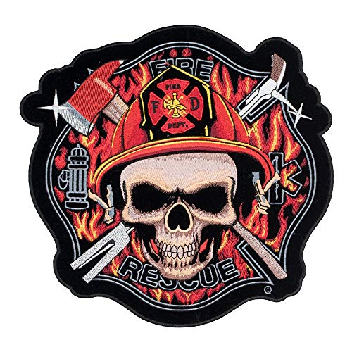 Fire Rescue Skull Maltese Cross Patch, Large Size