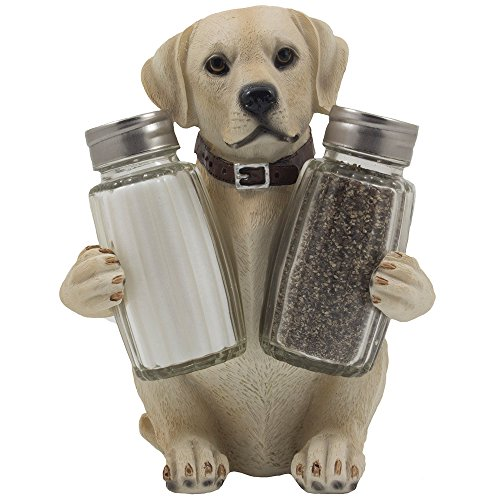 Labrador Retriever Salt and Pepper Shaker Set with Decorative Display Stand Dog Figurine Holder for Lodge & Hunting Cabin Kitchen Decor Table Centerpieces As Puppy
