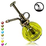 SENLIXIN Plant Mister Flower Water Spray Bottle Can Pot | Vintage Pumpkin Style Decorative Glass Plant Atomizer Watering Can Pot with Top Pump for Indoor Potted Plants Terrariums Flowers (Green)