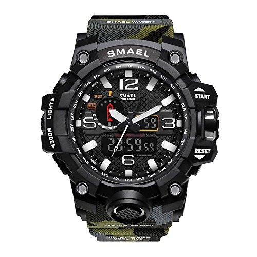 (SMAEL Men's Sports Analog Digital Quartz Military Watch Waterproof Multifunctional Large Dial Wrist Watch for Men (Forest Camouflage))