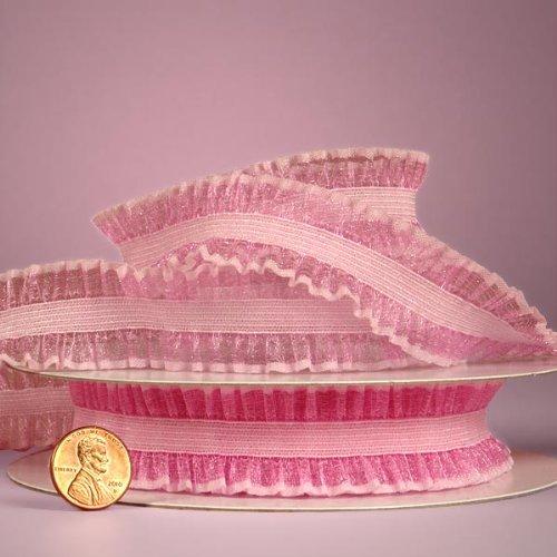 Pink Double Ruffle Ribbon, 1