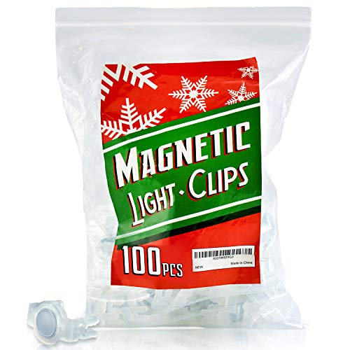 - Extra Strong Magnetic Christmas Light Clips Holiday Lighting Magnet for C9 Holiday Lighting Sockets, can be used for Patio Lighting, and with Christmas Tree and Edison Globe String lights. Pack of 100