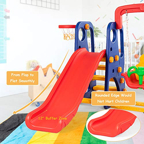 Costzon Toddler Climber and Swing Set, Junior Basketball Hoop Playset for Both Indoors & Backyard (3-in-1 Slide & Swing Set) by Costzon (Image #3)