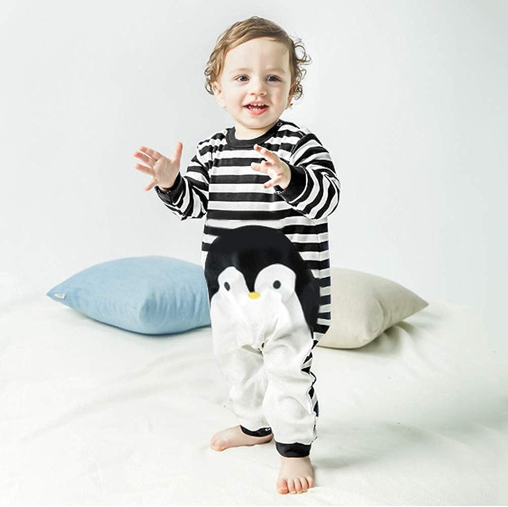 Pagliaccetto Bambini Tutina a Maniche Lunghe Pigiama in Cotone Animali Strisce per Neonati 6-36 Mesi