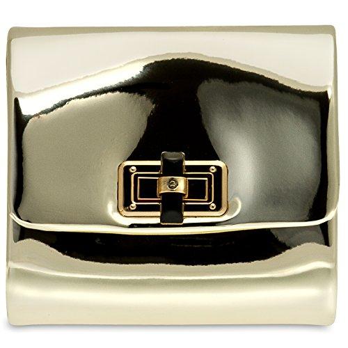 CASPAR TA387 stylisch kleine Damen Metallic Lack Mini Koffer Clutch Tasche / Abendtasche mit langer Kette Gold