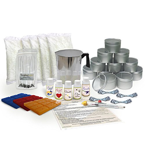 Candle Making Kit Large - with 5 lbs of Soy Wax Flakes, Scent, Pouring Pot, Wicks and Wax Dye ()