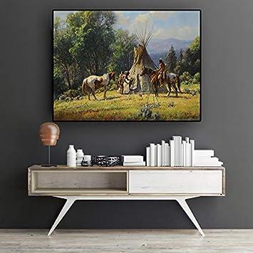 SDFSD Resumen Indio Nativo Caballo Figura Pintura al óleo sobre Lienzo Cuadros Carteles e Impresiones Pared Arte Imagen para Sala de Estar 60x80 cm