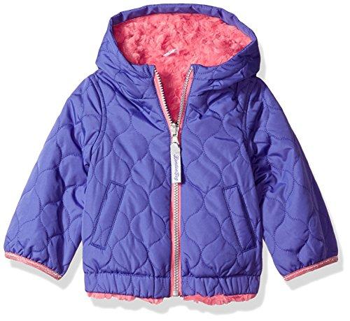 London Fog Baby Girls Reversible Quilted Jacket With Hood, Purple, (Reversible Ski Jacket)