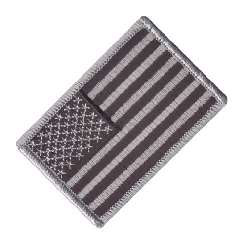 Rothco Silver/Black American Flag Patch with Hook Back