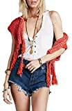 Free People 'Tassels Away' Knit Shrug, Size Small - Red