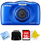 Nikon COOLPIX S33 13.2MP Waterproof Shockproof Freezeproof Digital Camera Blue Bundle