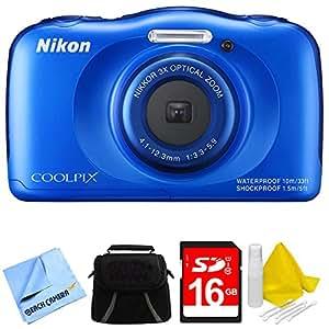 Nikon COOLPIX S33 13.2MP Waterproof Shockproof Freezeproof Digital Camera Blue Bundle
