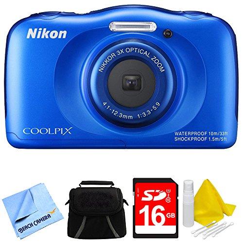 Nikon COOLPIX S33 13.2MP Waterproof Shockproof Freezeproof Digital Camera Blue Bundle by Nikon