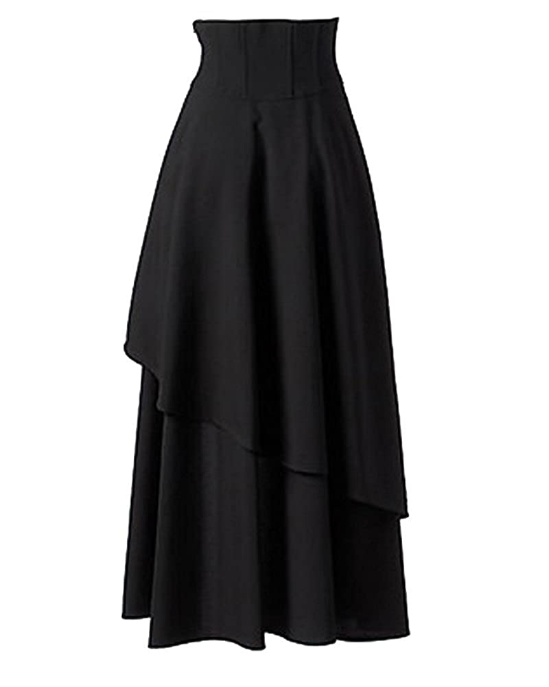 Moollyfox Women's Gothic Lolita Bandage Maxi Skirt
