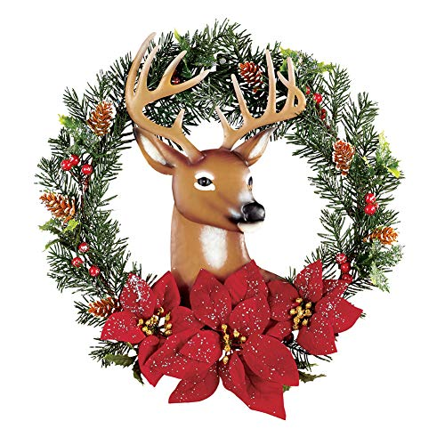 Collections Etc Christmas Wreath with Metal Deer & Poinsettias