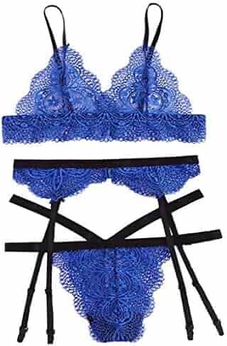8c2297dda 2019 Fashion Women Sexy Plus Size Lace Lingerie Bra Garter Briefs Underwear  Cute Mesh Thong Sleepwear