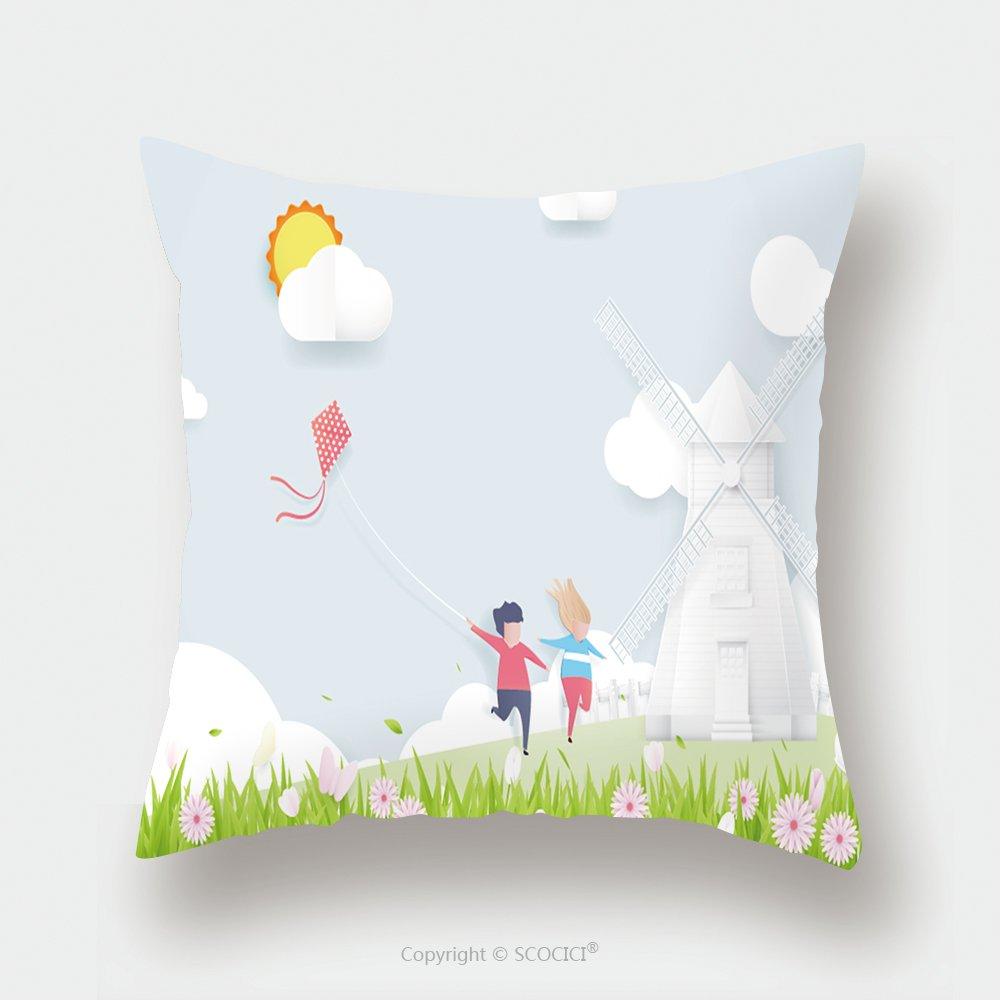 Custom Satin Pillowcase Protector Spring Season Concept Boy And Girl Playing Kite With Windmills 639445072 Pillow Case Covers Decorative by chaoran