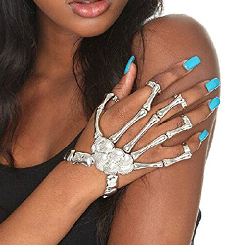 Misscat Fashion Women Hand Chain Skull Fingers Metal Skeleton Slave Bracelet Ring (Silver)