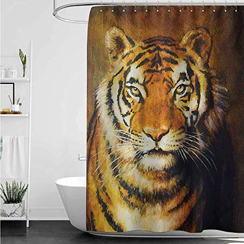 (home1love Bathroom Curtains,Tiger Oil Painting Style Big Cat Purposeful Eyes Carnivore Bengal Feline of East,Bathroom Curtain Washable Polyester,W60x72L,Black Pale Brown)