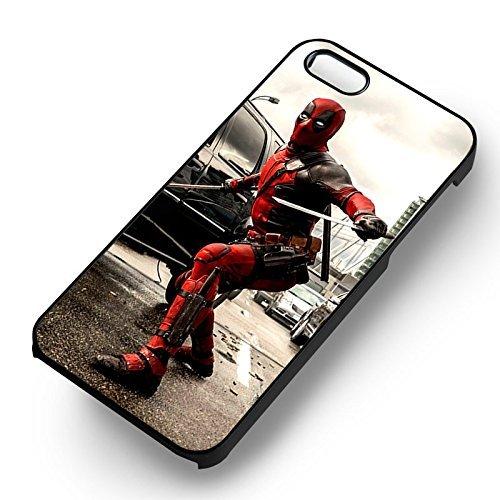 Unique Deadpool Fighting pour Coque Iphone 5 or Coque Iphone 5S or Coque Iphone 5SE Case (Noir Boîtier en plastique dur) O1X1NM