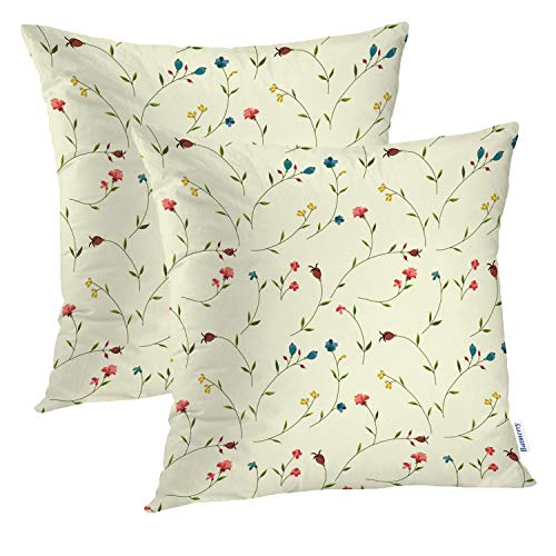 Batmerry Floral Pillow Covers 18x18 Inch Set of 2, Small Pink and White Flower Design Double Sided Decorative Pillows Cases Throw Pillows Covers