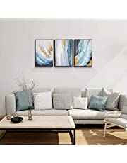 3 Panel Canvas Wall Art Abstract Waterfall Seascape Oil Painting Canvas Artwork Framed Pictures Ready to Hang for Home Decor Office Wall Decoration 24x48 inches