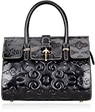 Pijushi Floral Handbag Ladies Leather Tote Handbags for Women Top Handle Bag 65098 (Black Luck Flower)