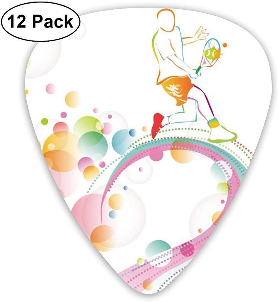 Tennis Ball Rainbow Guitar Pick Set Guitarra Bajo Mandolin Ukulele 0.46mm 0.71mm 0.96mm 12 Pack Guitar Picks Plectrums Picks Holder
